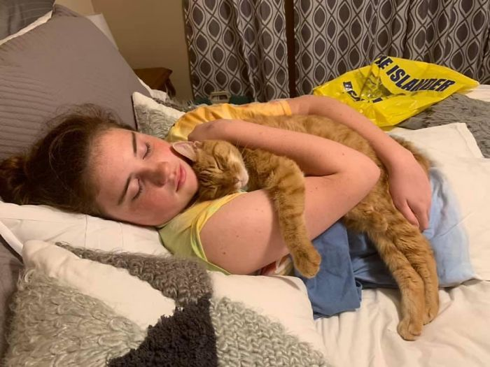 daughter with cat
